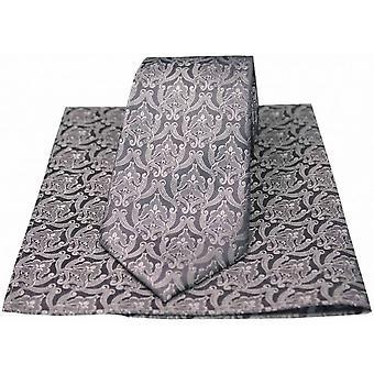 David Van Hagen viktorianska tapet slips och näsduk Set - Silver/grå