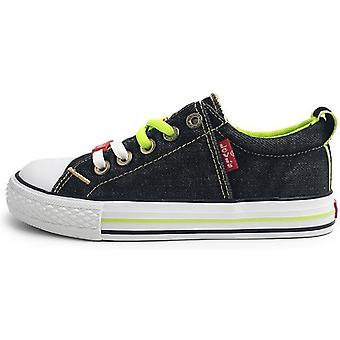 Levis Boys Original Low Lace Shoes Black Denim