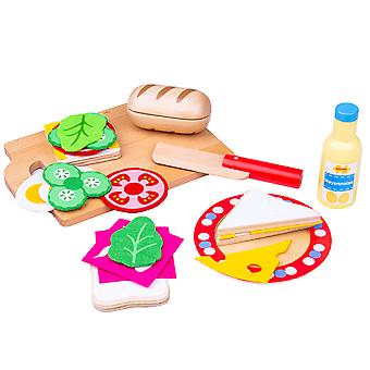 Bigjigs giocattoli in legno Sandwich Making Play Set - finta Roleplay