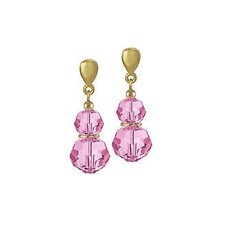 Wieczne kolekcji Echo Rose różowy austriacki Crystal Gold Tone upuść przebili kolczyki