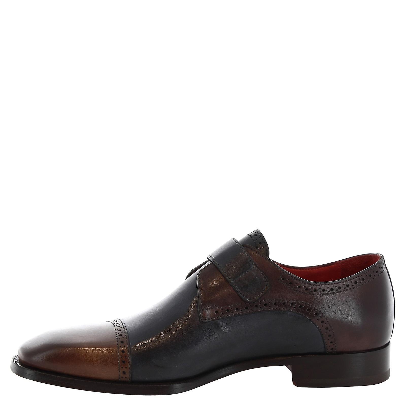 Leonardo Shoes 8737e19tomvitellodelavebrandy Men's Blue Leather Monk Strap Shoes 176IKW