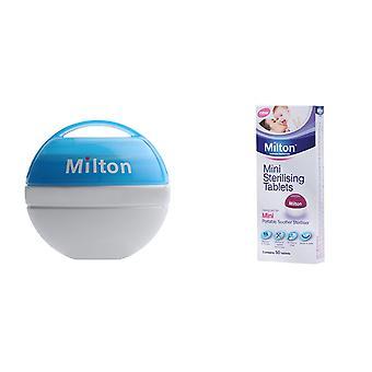 Milton Bundle mini Portable soother steriliser Sky Blue & mini sterilising tablets (contém 50 comprimidos)
