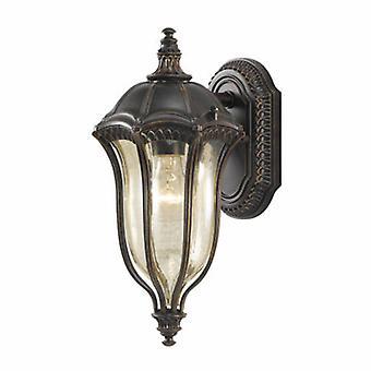 1 luce piccola lanterna da parete esterna leggera in noce IP44