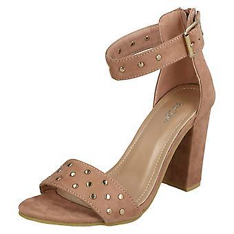 Ladies Spot On Mid Chunky Heel Sandals