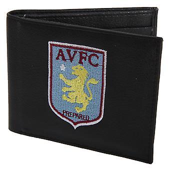 Aston Villa FC Mens offisielle skinn lommebok med brodert fotball Crest