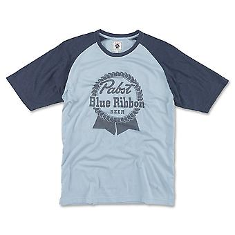 Pabst Blue Ribbon Beer Men's Blue Raglan T-Shirt