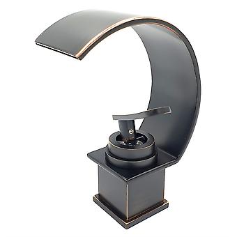Basin Sink Designer Mixer Tap Waterfall Black Copper Effect Single Handle