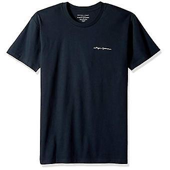 Reyn Spooner Men's Short Sleeve T-Shirt, Lehua and Volcano - Navy, L