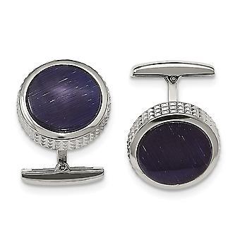 Rozsdamentes acél polírozott Kék Macskák Eye texturált kerek mandzsetta linkek ékszerek ajándékok férfiaknak