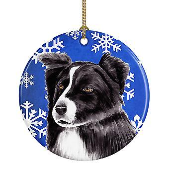 Border Collie Winter Snowflakes Holiday Ceramic Ornament SC9367