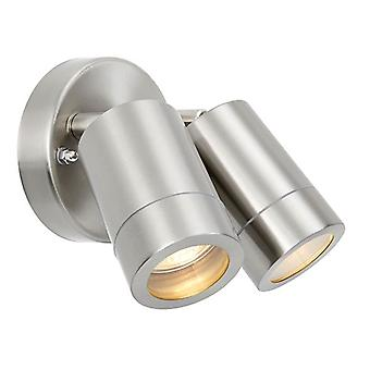 Saxby Lighting Palin 2 Light Outdoor Spotlight Brushed Stainless Steel, Glass IP44 75449