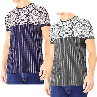 Brave Soul Mens Pearl Floral Casual Cotton Crew Neck Short Sleeve T-Shirt Top