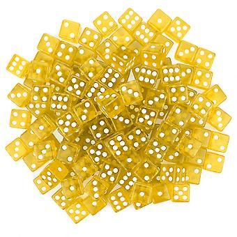 100 Yellow Dice - 16 mm