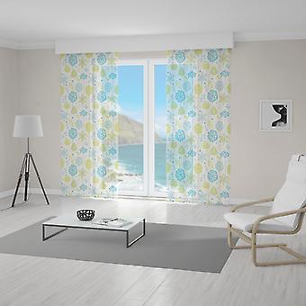 Meesoz net gardin-blå & grønne blomster