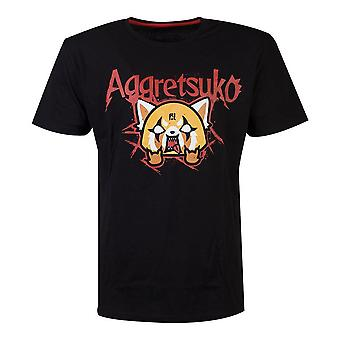 Aggretsuko Trash metal herr T-shirt X-Large-Svart (TS713761AGG-XL)