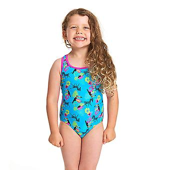Zoggs Girls Petit Safari Actionback One Piece Swimsuit - Turquesa/Multi