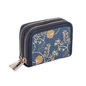 Jane austen blue double-zip rfid money wallet by signare tapestry / dzip-aust