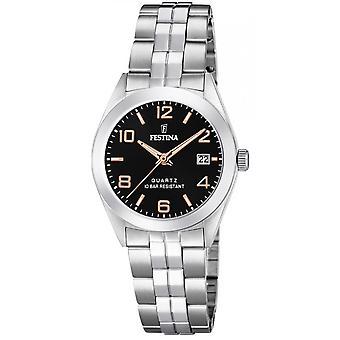 Festina F20438-6 Uhr - CLASSIC Steel Silver Black Damenzifferblatt