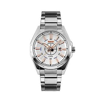 Skmei Mens Watch Stunning Analogue Watches Silver Stainless Steel Date SK9118