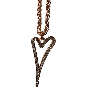 Miss Dee 14crt Rosegold Plated Necklace With Hollow Heart And Diamante Face