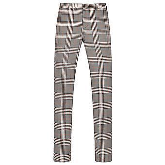 Allthemen mænd ' s straight fit Suit bukser plaid trykt casual bukser