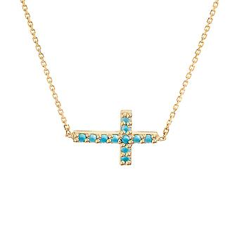 14k Yellow Gold Adjustable Side ways Nano Simulated Turquoise Mini Cross Necklace 18 Inch Jewelry Gifts for Women