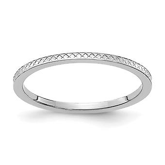 10kw 1.2mm Criss cross Pattern Stackable Band Ring Jewelry Gifts for Women - Ring Size: 4 to 10