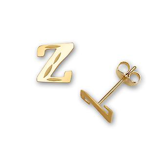 14k Yellow Gold Letter Name Personalized Monogram Initial Z Stamping for boys or girls Earrings Measures 6x5mm