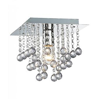 THLC Palazzo Elegant Crystal Square Flush Ceiling Light In Polished Chrome Finish