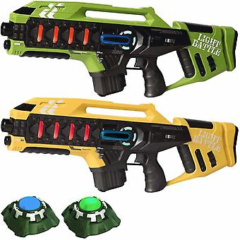 2 Anti-Cheat laser game guns - green and yellow + 2 targets