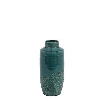光和活花瓶装饰 13x29cm 塞拉陶瓷深绿色