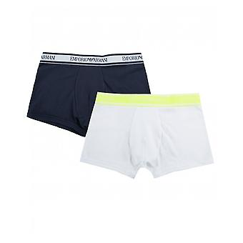 Armani Junior 2 Pack Logo Neon Trim Boxer Shorts