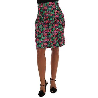 Dolce & Gabbana Pink Green Jacquard Pencil Skirt
