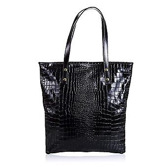 FIRENZE ARTEGIANI. Real leather lady shopping bag. Genuine snake bag lacquered in women. MADE IN ITALY. REAL ITALIAN SKIN. 39x38_5x6 cm. color: black