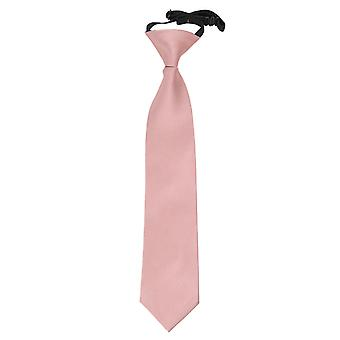 Dusty Pink Plain Satin Elasticated Tie for Boys