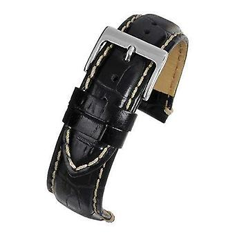 Crocodile grain calf leather watch strap black padded and stitched chrome buckle sizes 18mm to 26mm