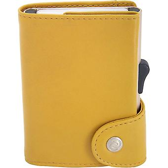 C-Secure Classic Leather XL Card Holder Wallet - Solis Yellow