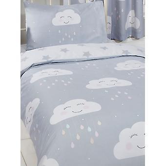 Happy Clouds 4 in 1 Junior Bedding Bundle Set (Duvet, Pillow et