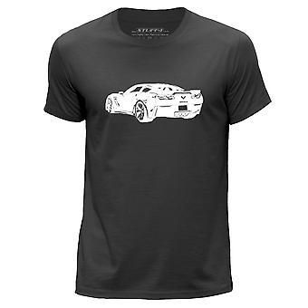 STUFF4 Men's Round Neck T-Shirt/Stencil Car Art / Corvette Z06/Dark Grey