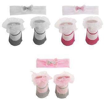 Baby jenter lille engel Design sokker & hodebånd sett