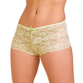 Camille Lime Lace Lingerie Bow Franse Knickers kant Boxershorts
