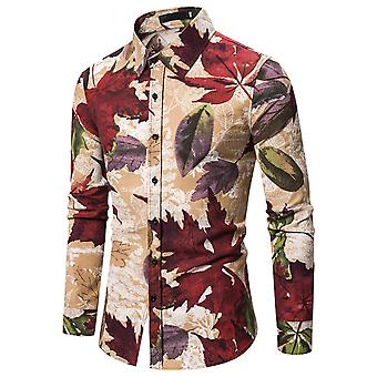 Allthemen Men's Leaf Printed Long Sleeve T-shirt Cămașă tradițională