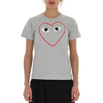 Comme Des Garçons Play P1t2651 Women's Grey Cotton T-shirt