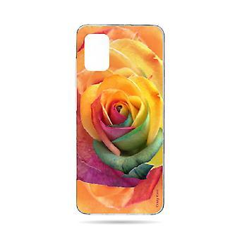 runko Samsung Galaxy A71 pehmeä vaaleanpunainen värikäs kukka