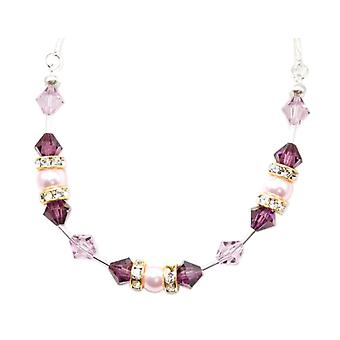 Spark Sterling Silver Purple Beads Pearl Necklace made with Swarovski Crystals