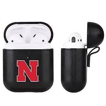 Nebraska Cornhuskers NCAA Fan Brander Black Leather AirPod Case