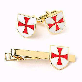 Masonic knights templar kt cufflinks & tie clip