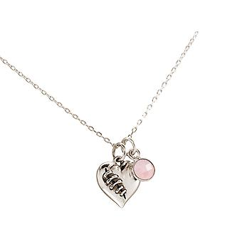 Necklace HEART BROKEN AND CLEAR925 Silver, gold plated or rose, rose quartz