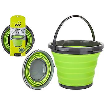 Top Pop 10L Space Saver Silicone Fold Flat Bucket Opvouwbare Camping Opslag Outdoor Travel - Grijs