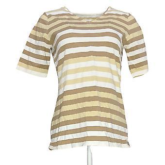 Denim & Co. Damen's Top perfekte Jersey Ellenbogen Ärmel V-Ausschnitt Beige A254227